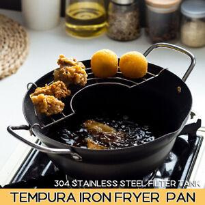 24CM Deep Fat Fryer Non Stick Chip Pan Casserole Pot Fry Frying Basket Glass Lid