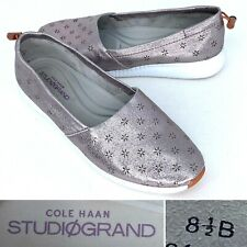 Cole Haan Studiogrand Grand OS Womens Silver Size 8.5 Perforated Flats Slip On