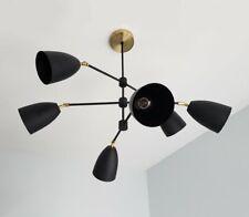Mid Century Cone Shade Sputnik Chandelier Brass Industrial Light Ceiling Fixture