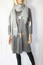 ITALIA maglia fine Pullover STELLE 38 40 42 44 oversize grigio NUOVO
