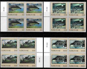 Faroe Islands 1990 Art, Nolsoy by Steffan Danielsen, Plate Blocks of 4 UNM / MNH