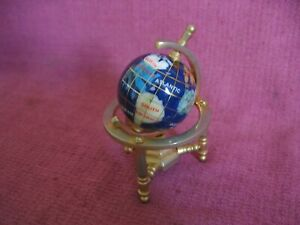 "Miniature Semi Precious Stone Style World Globe - Approx 4"" (10cm) Tall"
