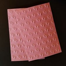 EMBOSSING CARD FRONTS ADORABLE BABY FOOTPRINTS SET OF 2
