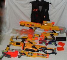 12 Gun Lot NERF Air Strike Rifle Simi Auto Soft Dart Pistols Guns Magazines Vest