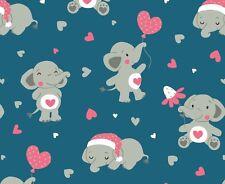 "Jersey "" Elifant "" Elefanten - Herzen - petrolblau - Eigenproduktion - Emmilove"