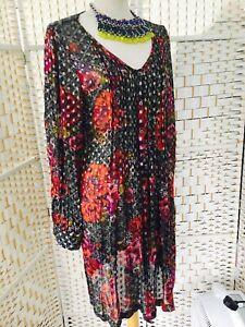 MONSOON VINTAGE 1980's Multi Floral Indian Long Sheer Shirt Dress UK Size 12