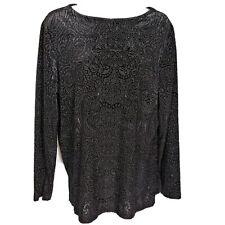 Dialogue QVC Womens Top Size M Medium Textured Blouse Black Semi Sheer Paisley