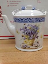 Hallmark Natures Sketchbook Marjolein Bastin Purple Yellow Flowers Teapot