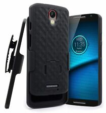 Moto Droid Turbo 2 Black Holster Combo Belt Clip Cell Phone Case Stand Cover