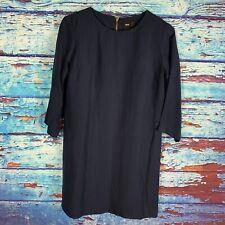 ASOS Dress Shift Navy Blue 3/4 Sleeve Viscose Blend Exposed Zipper Size 10
