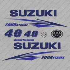 Suzuki 40HP Four Stroke Outboard Engine Decals Sticker Set reproduction White