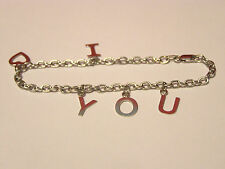 "14K WHITE GOLD ""I LOVE YOU"" CHARM BRACELET 6.5"" x 1/2""--WEIGHTS 3.05 GRAMS"
