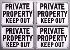 "''Private Property Keep Out'' 10"" x 7"" Signs, Metal 4 Sign Set"