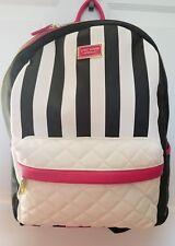 Betsey Johnson Negro/crema acolchado rayas mochila grande bolso de Diseñador -