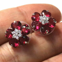Sparkling Red Ruby Flower Stud Earring Women Wedding Jewelry 14K RoseGold Plated