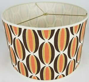 "NEW Drum Lamp Shade 15"" Dia 10"" H Hotdog Orange Contemporary Brown Fabric"