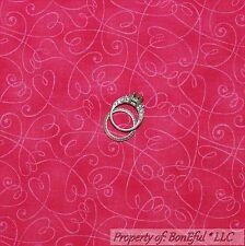 BonEful FABRIC FQ Cotton Quilt Pink VTG Light Valentine Heart Swirl Scroll Girl