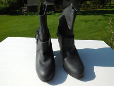 *RAMPAGE LADIES BLACK LEATHER LIKE FASHION ANKLE  COWBOY BOOTS HEELS SIZE 10 M