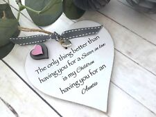 Sister In Law  Auntie Heart Gift Shabby Chic Ribbon Birthday S21A
