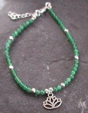 Jade Gemstone Beads Lotus Flower Anklet Ankle Bracelet
