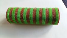 Red and Green Narrow Striped Deco Mesh 10 inches by 10 yards