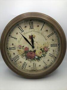 """Wall Clock 11"""" Pretty Floral Wood ResIn Face Says """"Savannah Botanical Society"""""""