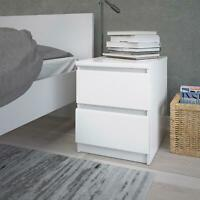 White Gloss Wooden Nightstand 2 Drawers Bedside Sofa End Table Bedroom Storage