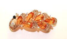 New Fashion Elegant Gold Brown Rhinestone Peacock Pattern Hair Clip Barrette