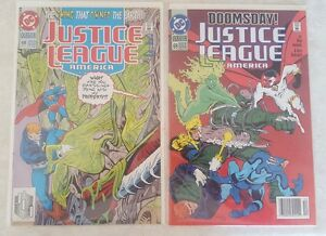 DC JUSTICE LEAGUE COMIC LOT #68 & 69 w BAG & BOARD THING OWNED EARTH DOOMSDAY
