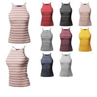 FashionOutfit Women's Stripe Cotton Based High Neck Racer-Back Ribbed Tank Top