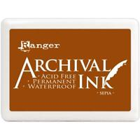 Archival Ink Jumbo Stamp Pad Sepia by Ranger Acid Free Waterproof