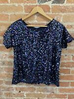 NEXT WOMENS NAVY SEQUIN SHORT SLEEVE TOP  SIZE: 10 BNWT RRP £20.00