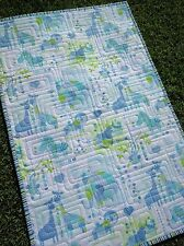 Handmade Bassinet, stroller, play mat  cotton quilt jungle animals blue green