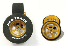 "Pro Track ""Evolution Gold"" 1 1/16"" x .500 Rear and Front Drag 1/24 Slot Car"
