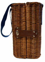 Grey Goose Wicker Basket Carrying Case For Liquor Bottle, Glasses With Strap DS