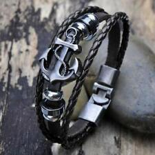 Bracelet men vintage punk brown metal anchor surfer faux leather bang