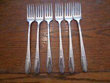 6 Rogers 1941 GARDENIA Grille or Viande Forks Silverplate Flatware IS 186
