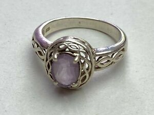 SOLID SILVER Ring Shaped with Square PURPLE Stone 925 Hall Marked Size UK R