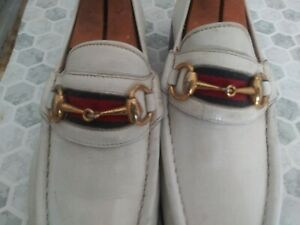 Men's GUCCI  650$ white  leather horse bit Loafers shoes size 8.  Euro 41