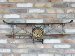 Vintage Style Aeroplane Clock/Biplane Wall Clock/Shelf