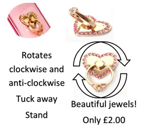 Rotating heart shaped Phone ring/holderdifferent colors with diamonds with stand