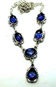 "Purple Amethyst Silver Overlay Handmade Gemstone Necklace New 21"" Adjustable"