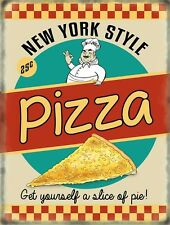 New York Style Pizza 50's Diner Kitchen Cafe Food Retro Small Metal/Tin Sign