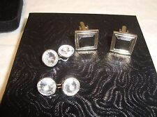 2 Cuff Links/Square Gold/Silver Tone w/Black Stone & Double Clear Crystal Linked