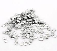 1000 PCs Aluminum Tone Square Metallic Nail Art Decoration Studs Tips 3x3mm ML