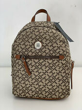 NEW! TOMMY HILFIGER SIGNATURE LOGO BROWN TRAVEL BACKPACK BAG PURSE $89 SALE