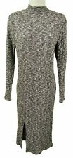 CHARCOAL LONG SLEEVE NIGH NECK BODYCON MIDI DRESS, LABEL LAB, SIZE UK 12, LD421
