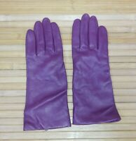 Burgundy Plum Genuine Leather Cashmere Lined Driving Gloves Womens Size 8