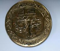 Vintage English Brass Embossed Deco wall plate mount hunting scene 15 1/4 in.