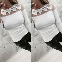 Womens Casual Lace Crochet Shirts Tops Summer Beach Long Sleeve Slim Fit Blouse